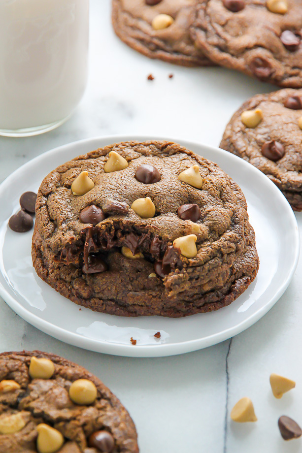 Rich and decadent chocolate cookies loaded with chocolate AND butterscotch chips!