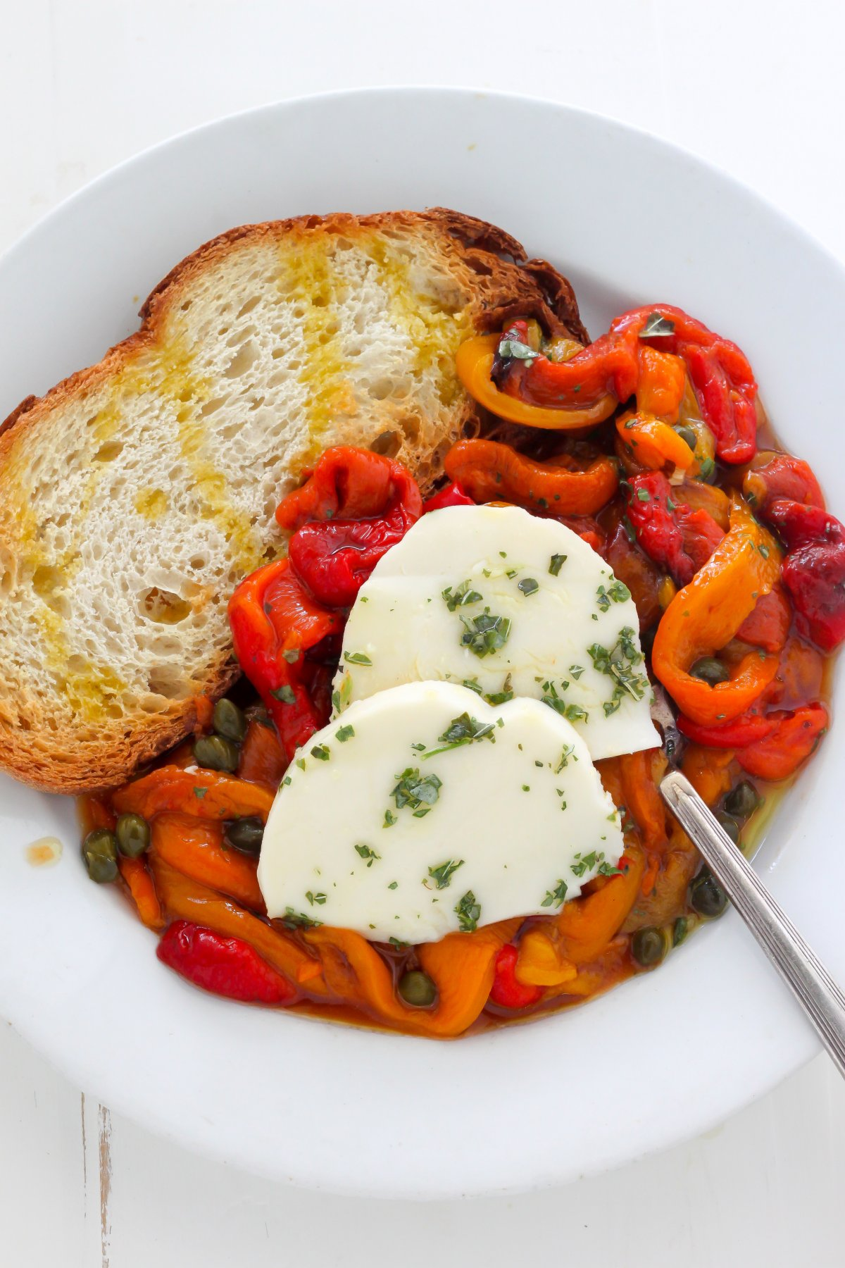 Roasted Peppers with Capers and Mozzarella - Baker by Nature