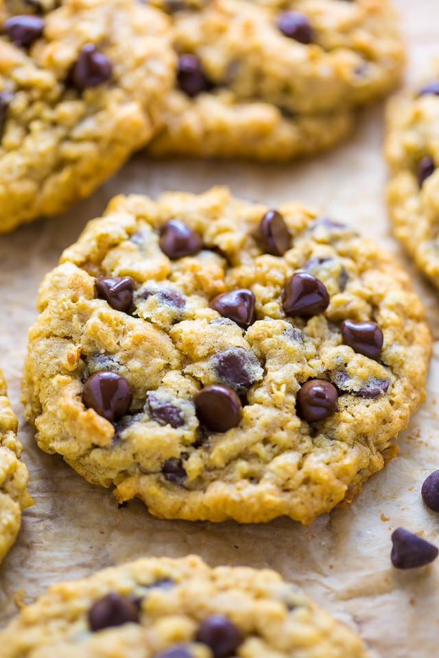 Thick and Chewy Oatmeal Chocolate Chip Cookies! So easy to make in less than 30 minutes.
