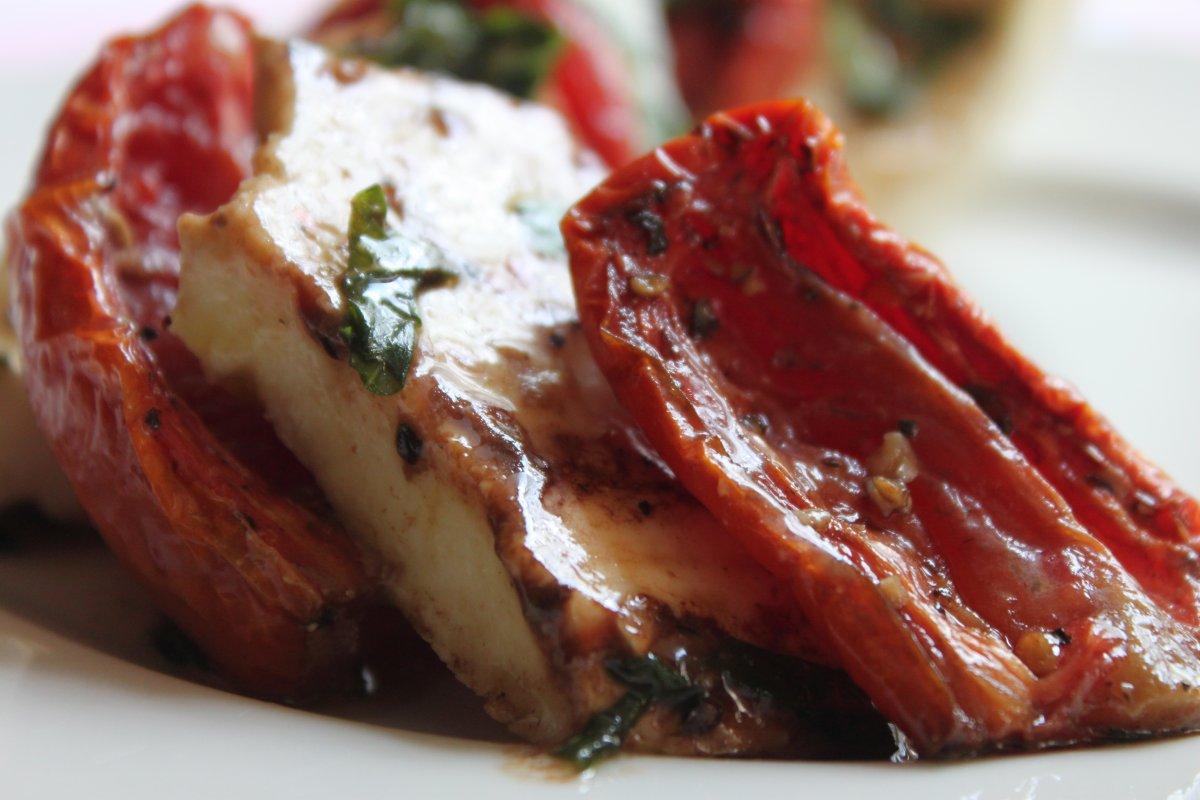 Roasted Tomatoes Ina Garten roasted tomato caprese salad - bakernature