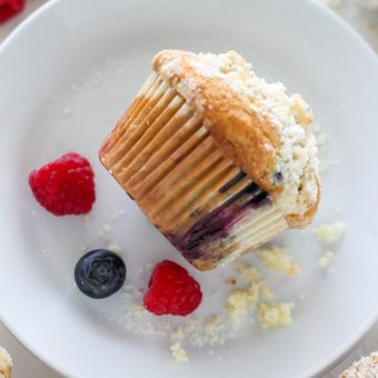 Blueberry-Raspberry Muffins with Streusel Topping