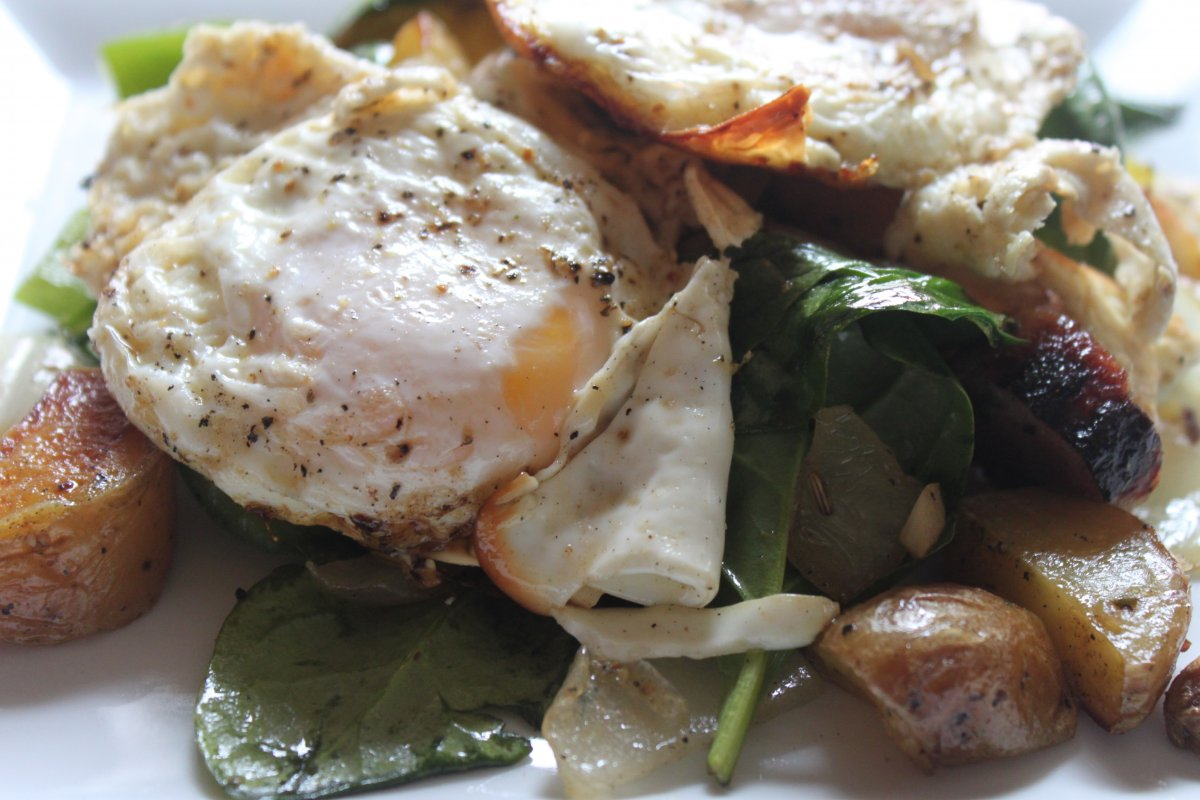 Spinach and Potato Breakfast Hash - Baker by Nature