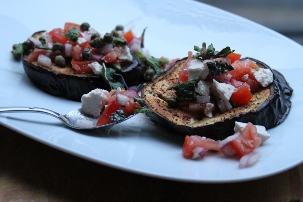 Roasted Eggplant with Tomatoes and Mint - Baker by Nature