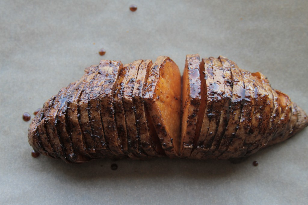 Hasselback Sweet Potatoes with Maple-Chili Glaze - Baker by Nature