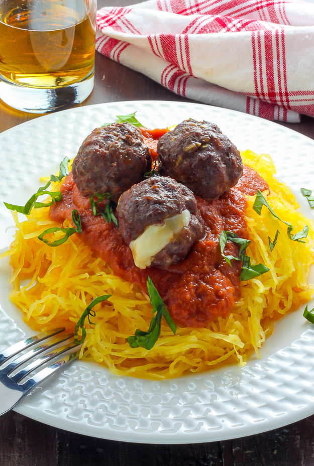 Mozzarella Stuffed Meatballs and Spaghetti Squash Marinara