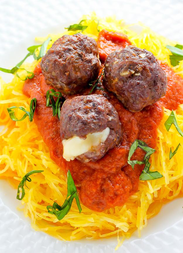 Mozzarella Stuffed Meatballs and Spaghetti Squash Marinara