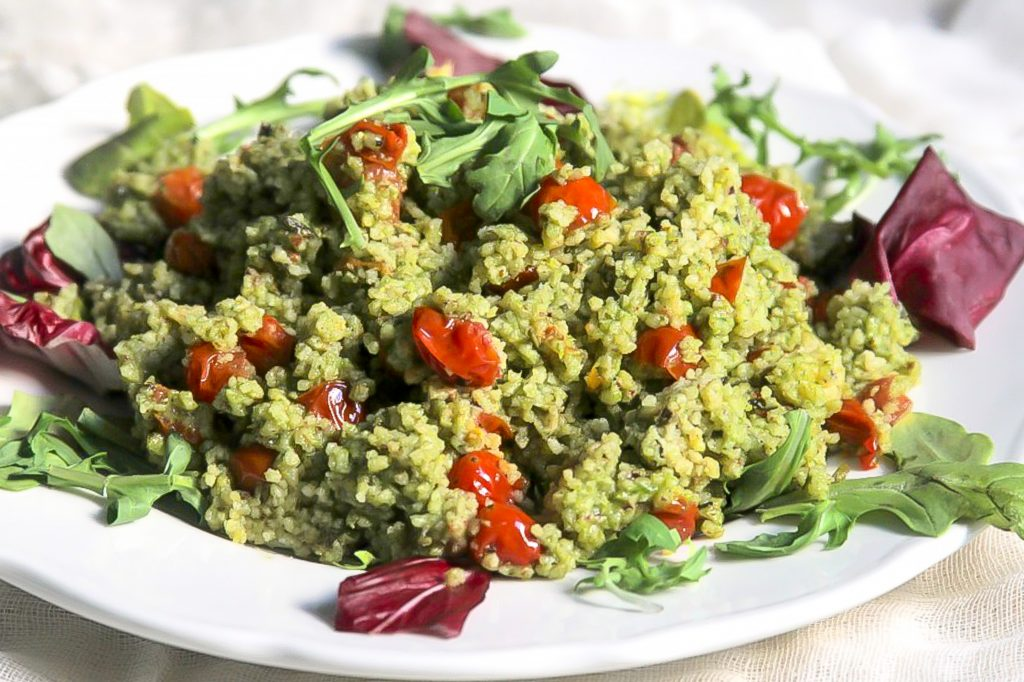 Cous Cous with Arugula and Roasted Tomatoes
