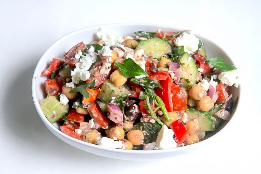 Greek Chickpea Salad in Kalamata Olive Vinaigrette - Baker by Nature