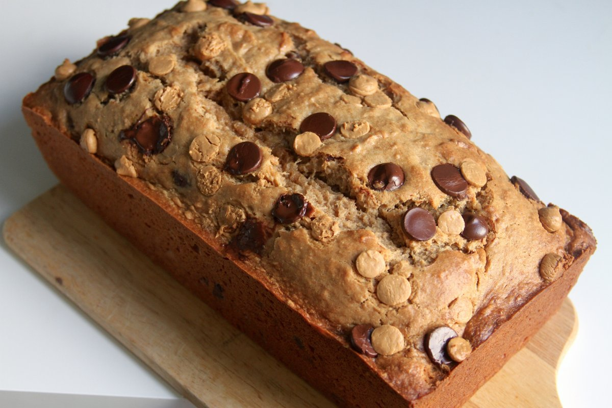 Whole Wheat Peanut Butter Banana Bread with Chocolate and Peanut Butter Chips