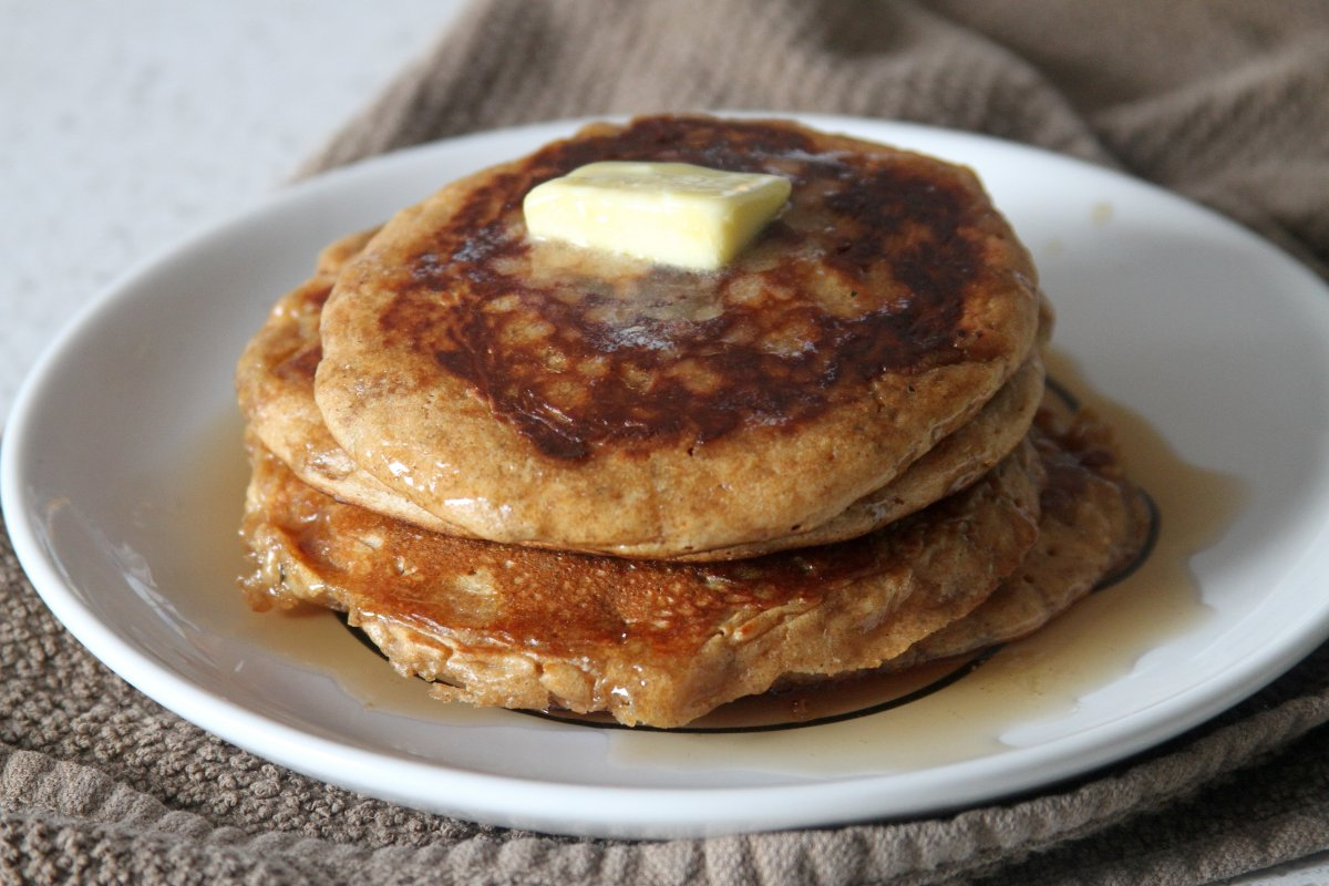 Peanut Butter - Banana Olive Oil Pancakes - Baker by Nature