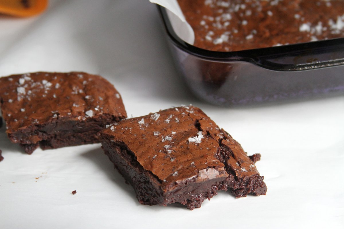... and salted caramel glaze deep dark brownies especially dark chocolate