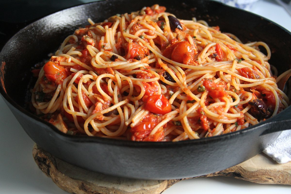 Tomato and Tuna Spaghetti Puttanesca - Baker by Nature