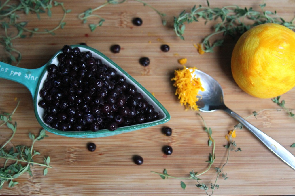 Lemon Blueberry and Thyme Olive Oil Pound Cake