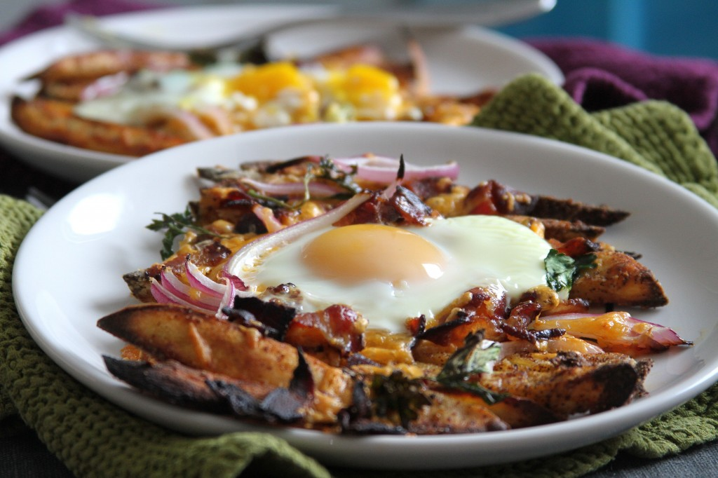 Bacon, Egg, and Cheese Breakfast Chili Fries - Baker by Nature