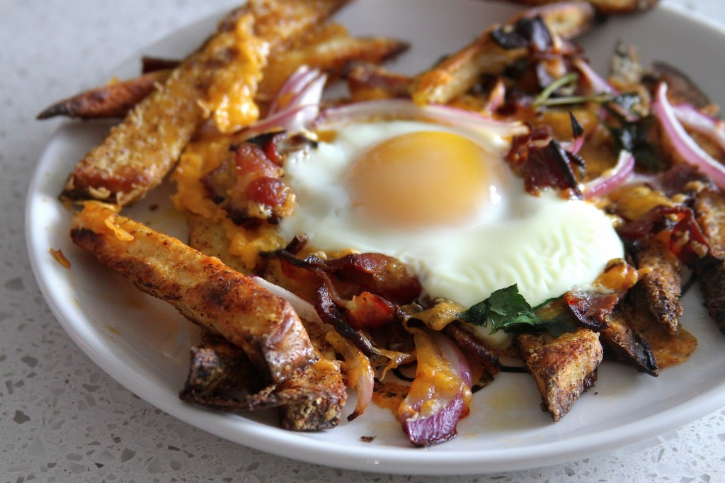 Bacon, egg, and cheese breakfast chili fries