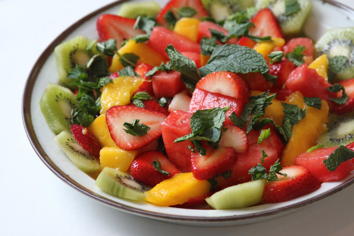 """Grown Up"""" Fruit Salad with Honey-Lime Bourbon Dressing - Baker by ..."""