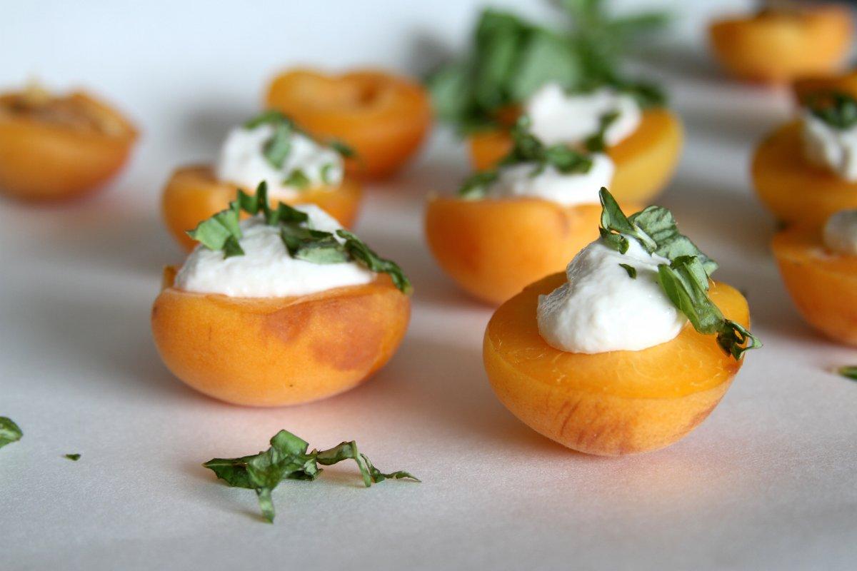 Cashew Cream Stuffed Apricots with Fresh Basil