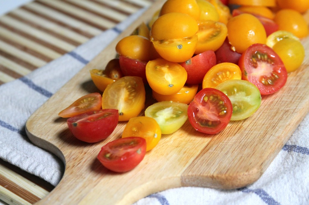 Roasted Tomato and White Bean Couscous with Roasted Garlic & Kalamata Olive Vinaigrette