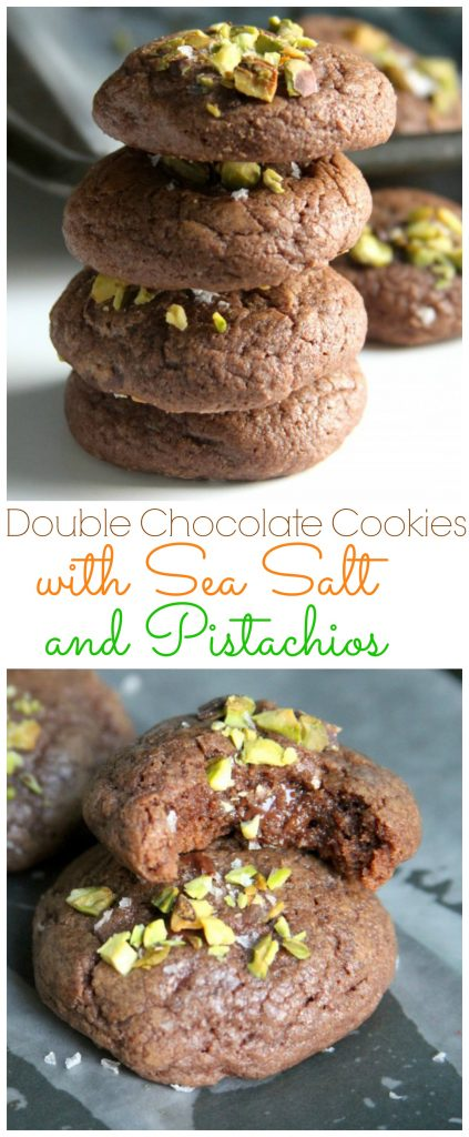 Double Chocolate Cookies with Sea Salt and Pistachios