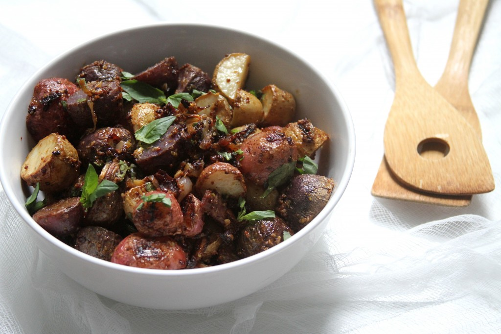 Mustard & Garlic Roasted Potatoes with Crispy Prosciutto, Shallots ...