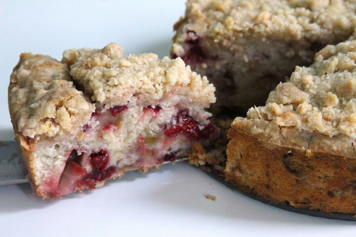 Strawberry-Raspberry-Rhubarb Buckle with Ginger Crumb Topping - Baker ...