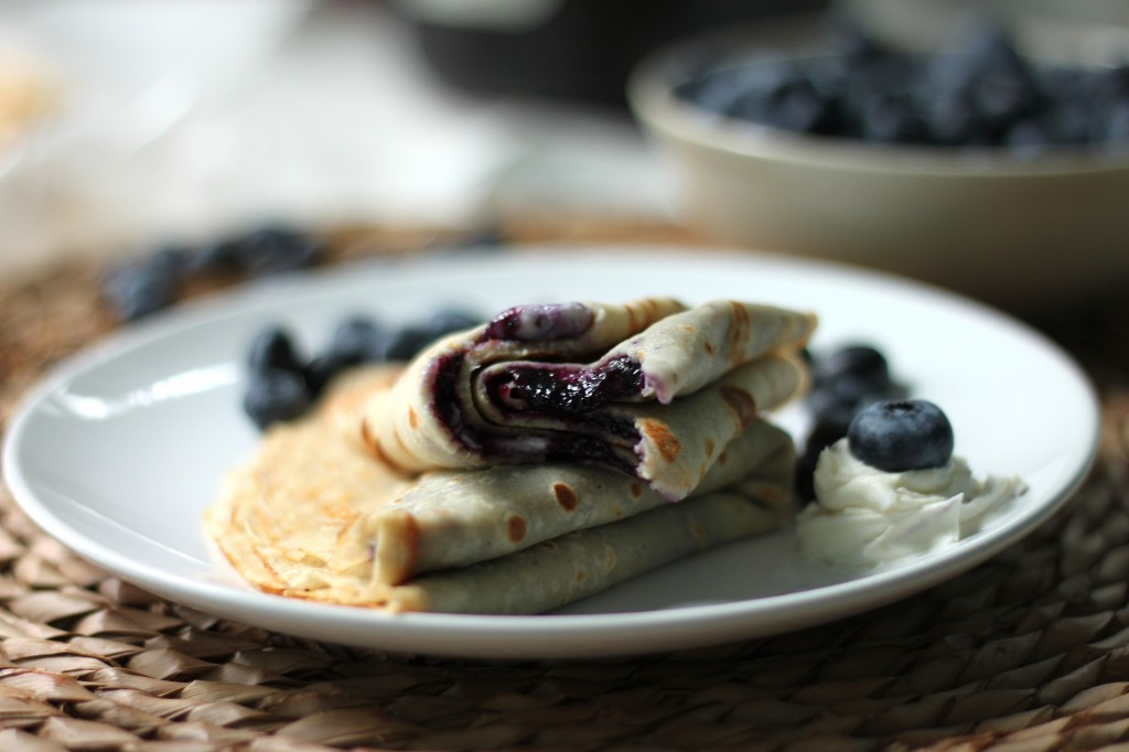 Brown - Butter Crepes with Fresh Blueberry Jam & Mascarpone Cheese