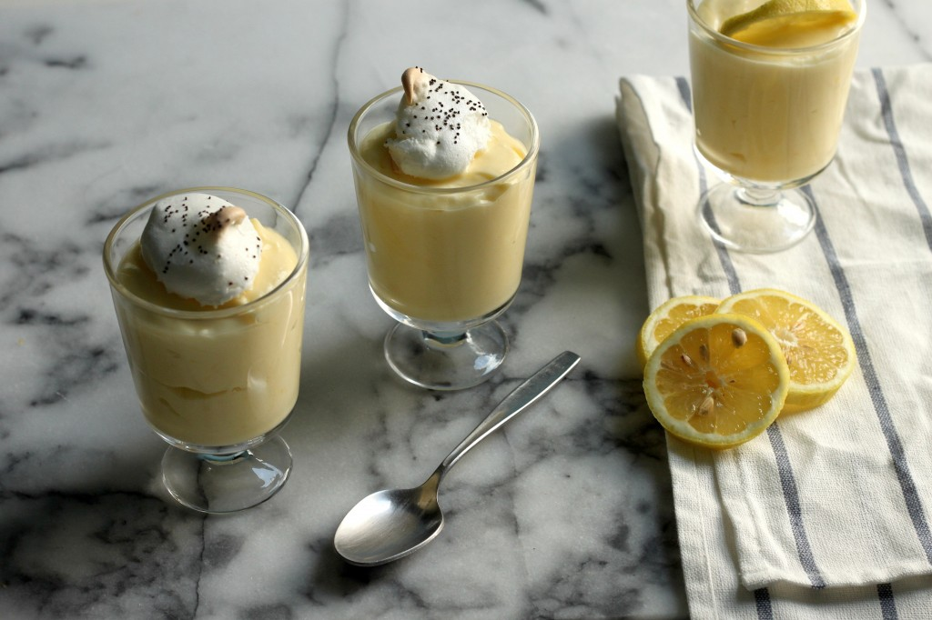 Lemon Pudding with Mini Poppy Seed Meringues