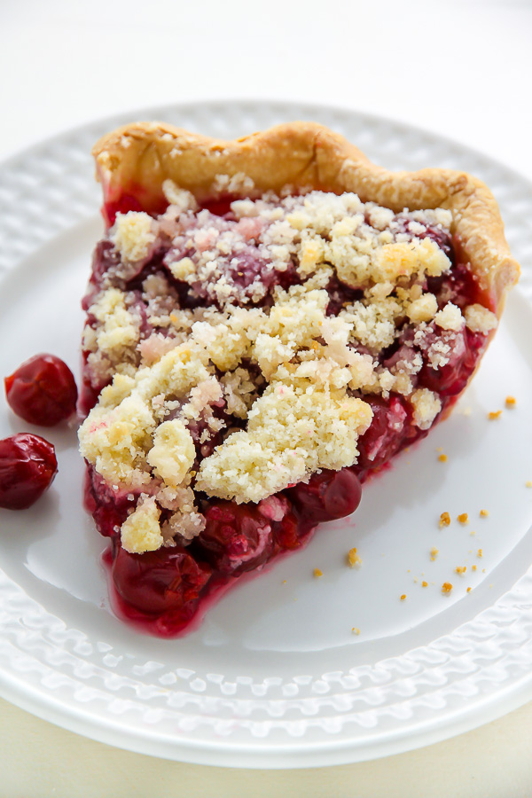 Homemade Sweet Cherry Pie topped with buttery crumbs