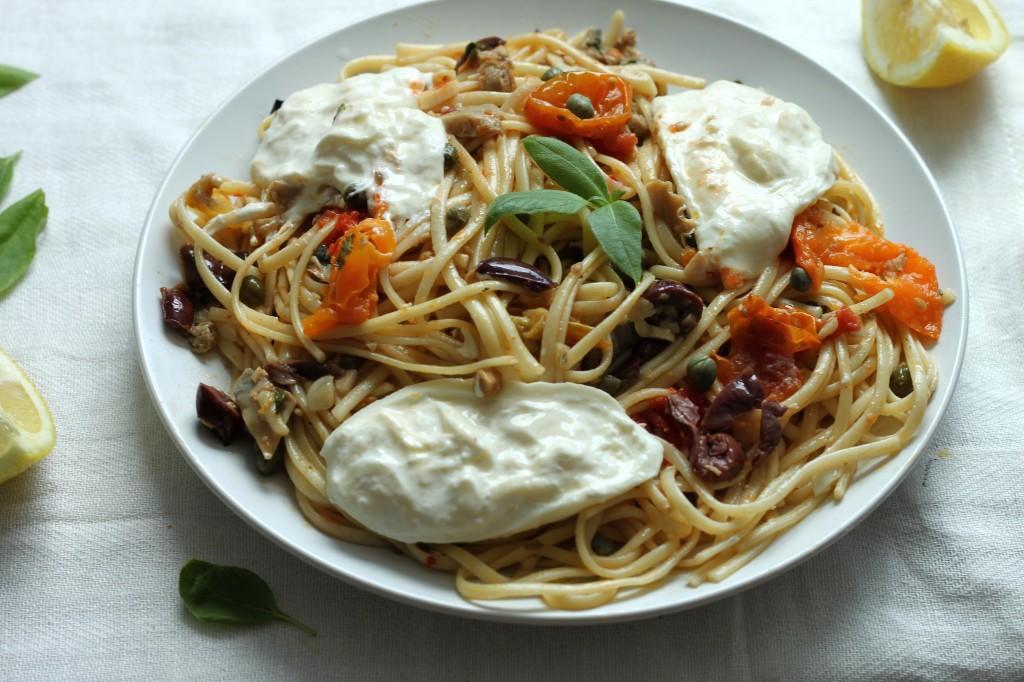 Linguini Clam Puttanesca with Burrata and Basil