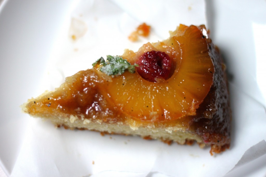 Skillet Pineapple Upside Down Cake with Candied Cilantro - Baker by ...