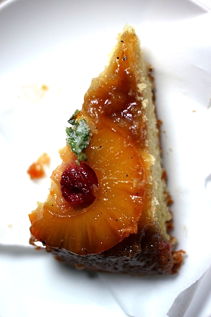 Skillet Pineapple Upside Down Cake with Candied Cilantro