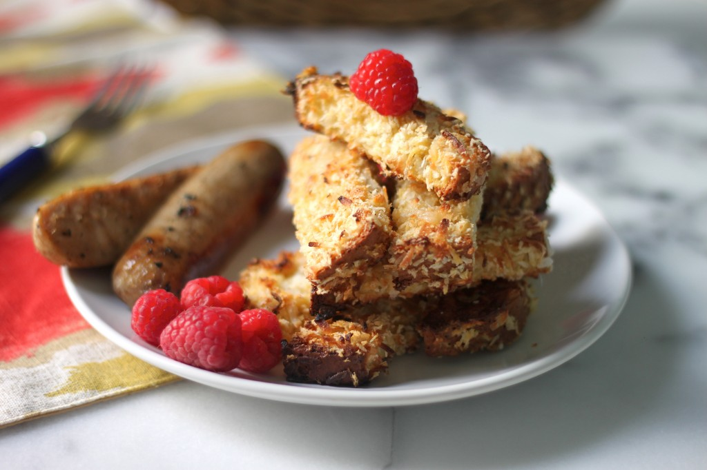 Crispy Coconut French Toast Sticks with Buttery Rum Syrup