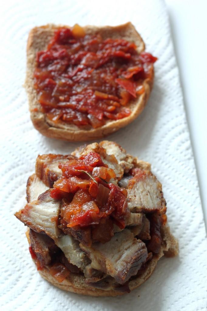 Crispy Pork Belly & Rosemary Tomato Jam Burgers