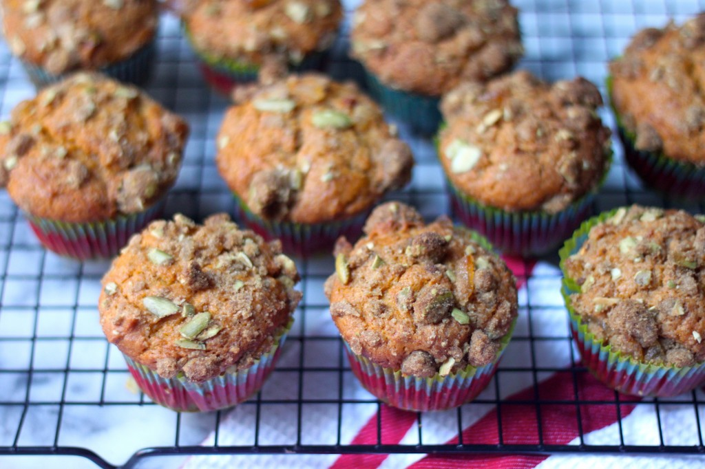 Pumpkin Banana Olive Oil Muffins with Crystalized Ginger Pepita ...