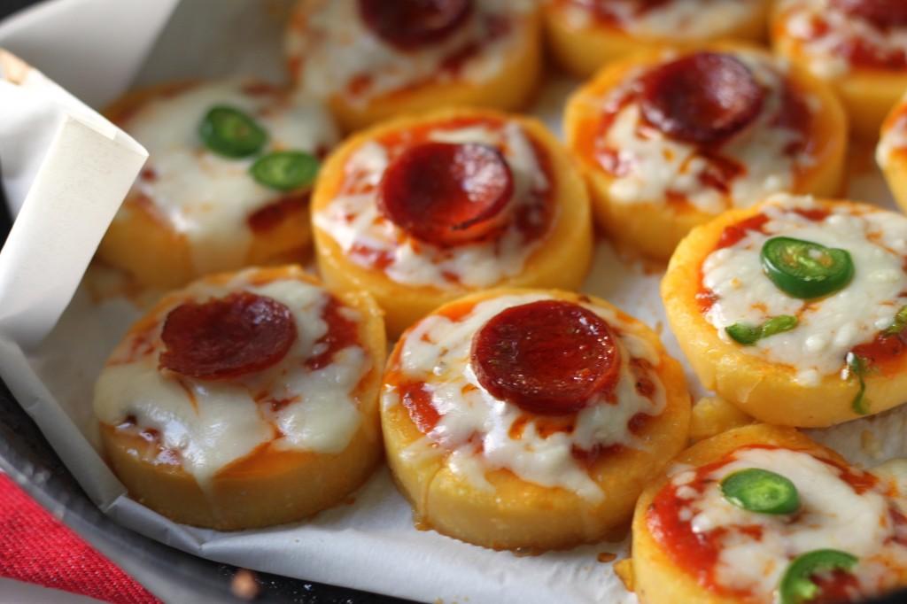 Pepperoni Polenta Pizza Bites