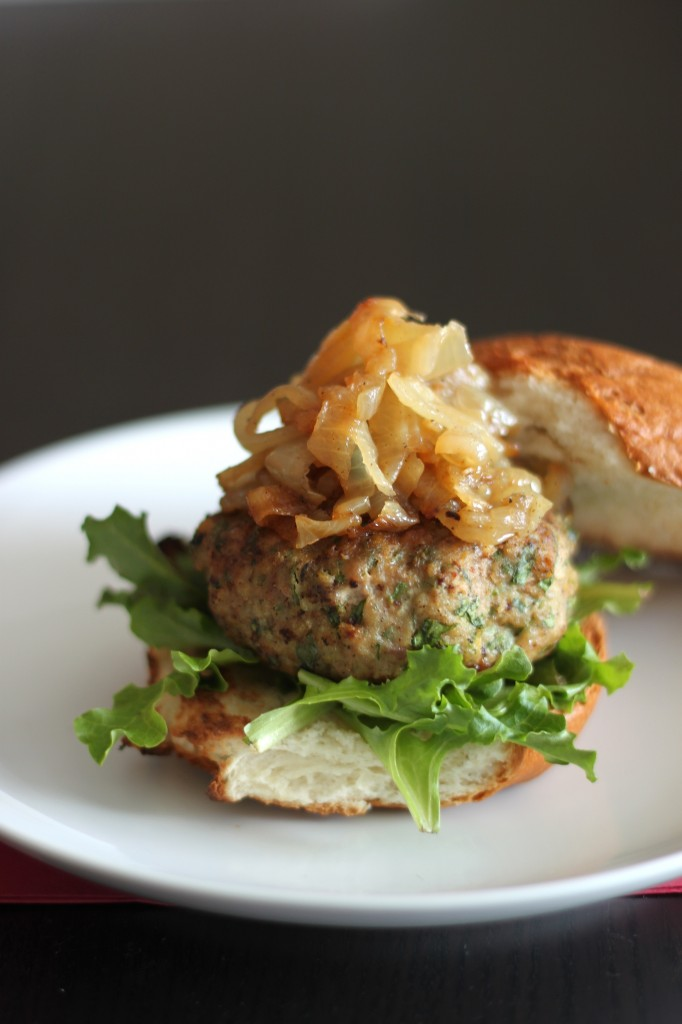 ... & Apple Turkey Burgers with Caramelized Onions - Baker by Nature