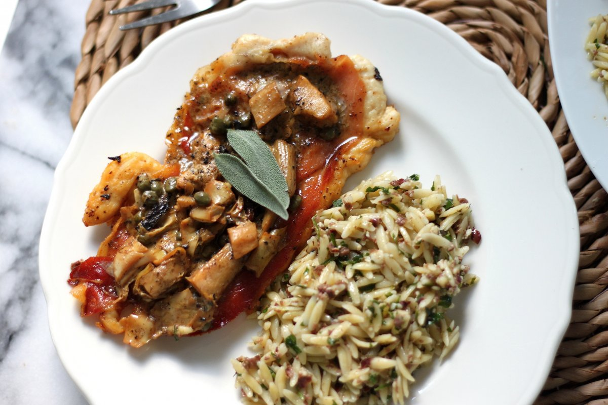Chicken Saltimbocca with Creamy Lemon Sauce & Olive Orzo - Baker by ...