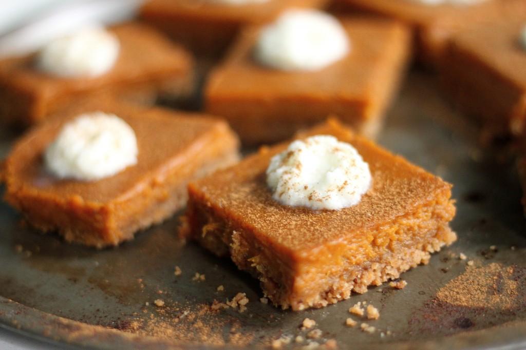 Silky Brown Butter Pumpkin Pie Bars with Brown Butter Pretzel Crust and Bourbon Whipped Cream