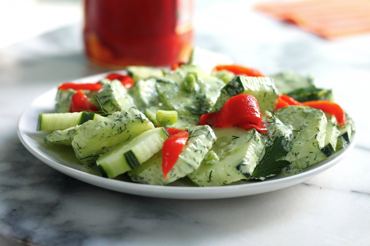 Cucumber Salad with Creamy Dill Dressing - Baker by Nature