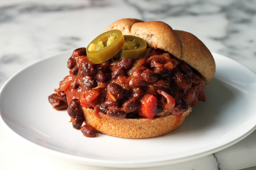 Black Bean Sloppy Joes with Caramelized Onions, Sage, and Pickled Jalapenos