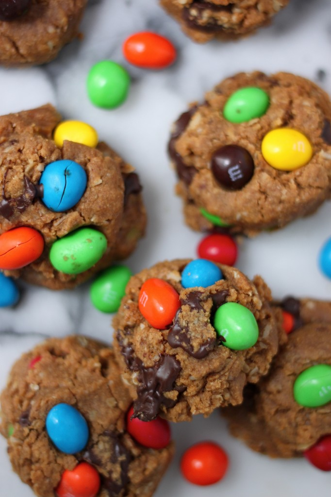 (Flourless) Peanut Butter M&M Chocolate Chunk Cookies