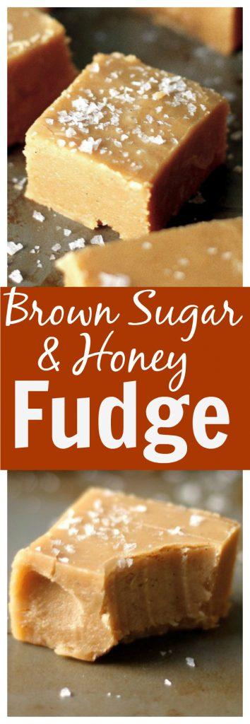 Homemade Brown Sugar and Honey Fudge with a pop of sea salt! YUM.