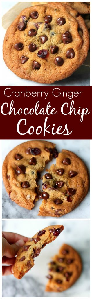 Thick and chewy cranberry ginger chocolate chip cookies - perfect for holiday baking!