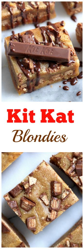 Malted Kit Kat Blondies - so easy and decadent!