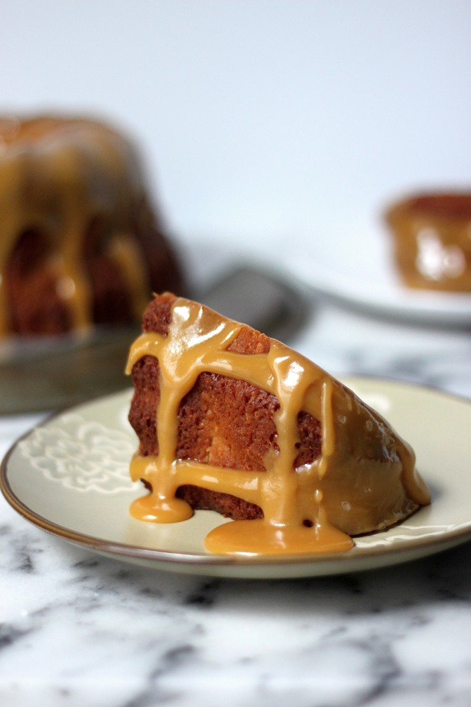 Brown Butter Apple Bundt Cake with Bourbon Butterscotch Sauce