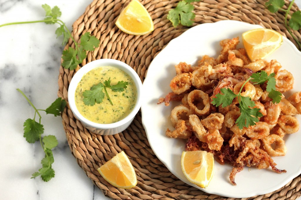 Fried Calamari with Tabasco and Honey Drizzle and Cilantro Aioli