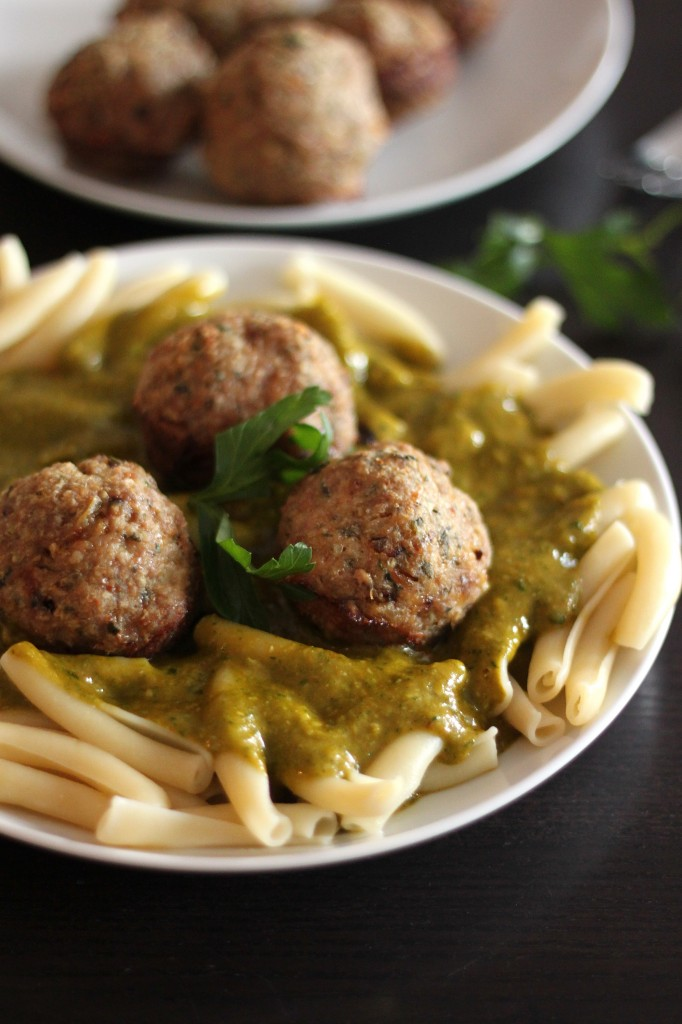 Quick and Easy Turkey Meatballs with Asiago and Fresh Herbs