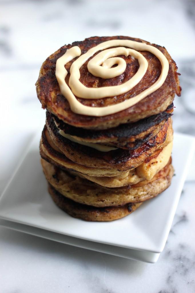 Eggnog Cinnamon Roll Pancakes