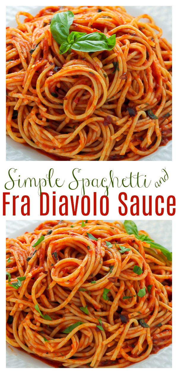 How to make Simple Spaghetti Fra Diavolo with just a handful of simple ingredients! This spicy Italian pasta recipe is always a crowd-pleaser!