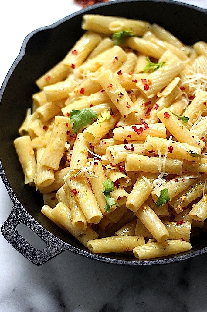 Roasted Garlic and Lemon Rigatoni with Brown Butter and Gruyere